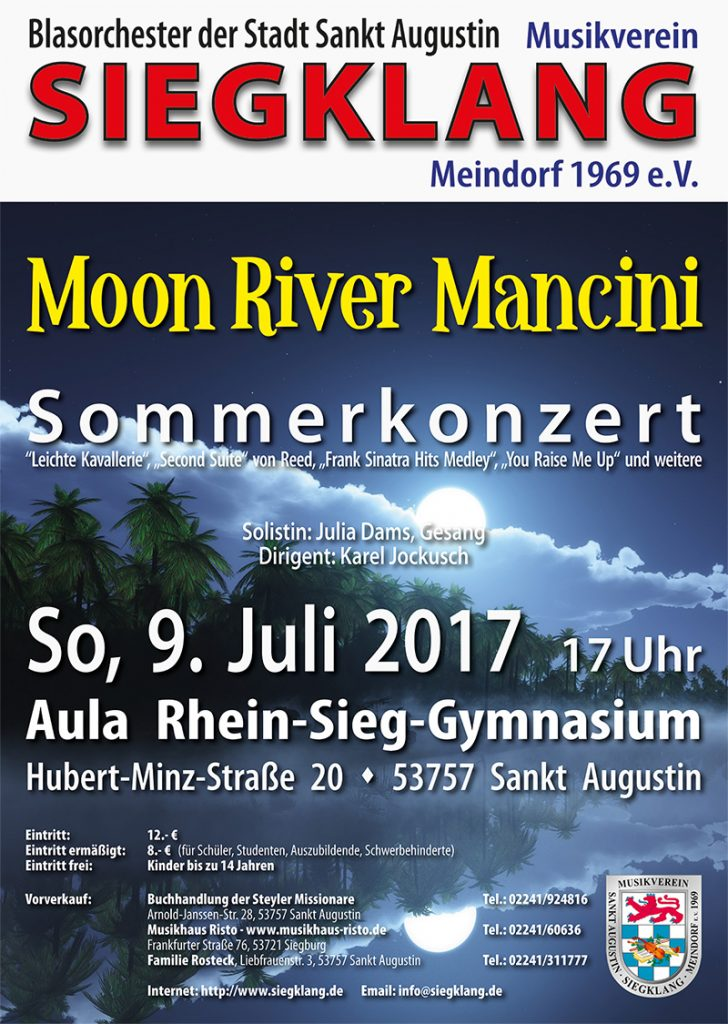 Plakat Sommerkonzert 2017, Titel Moon River Mancini