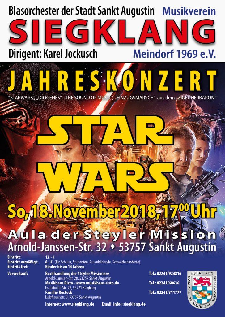 """Plakat des Jahreskonzert """"Star Wars"""" 2018"""